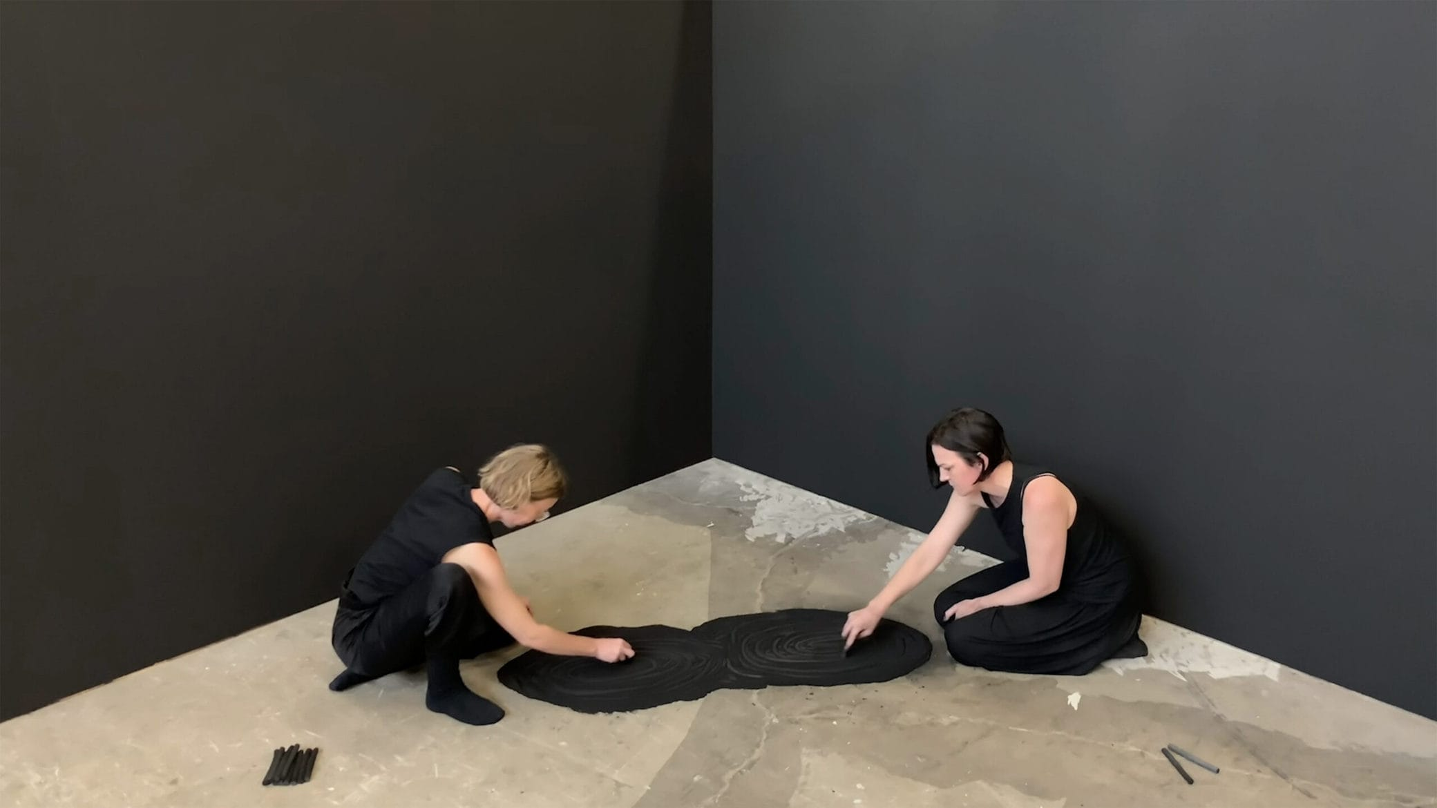 Emma Fielden, 'Andromeda and The Milky Way', 2019, performance with charcoal, HD video, 5 hours 41 minutes, edition tba. Performed by Emma Fielden and Lizzie Thomson at Parramatta Artists' Studios Rydalmere, commissioned by Parramatta Artists' Studios.