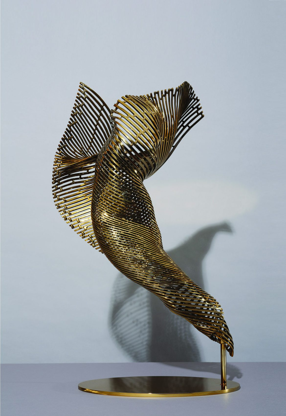 'I Am-Dancer', stainless steel, gold polychrome, 69 x 38 x 39 cm, edition 1 of 12 + 1AP