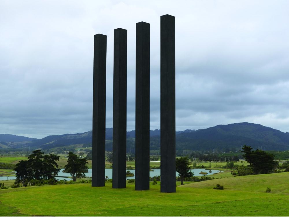 'Sentinels', 2017,four columns, Gibbs Farm, Kaipara, New Zealand, 15 m