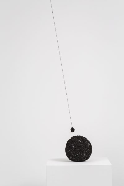 Emma Fielden, 'Orb', 2017, hand crushed ferrite magnets, iron oxide pigment, rare earth magnets, linen thread, main form approximately 14 x 14 x 14 cm.