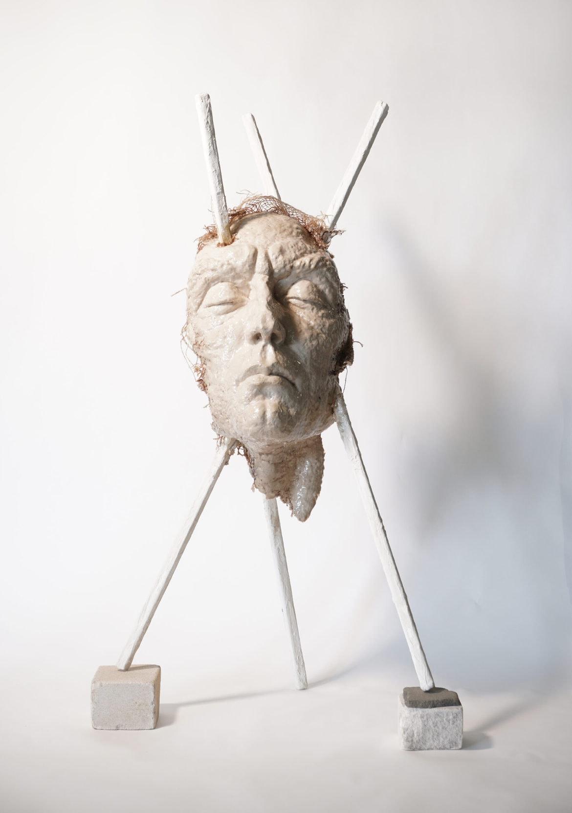 'in statu nascendi', 2020, plaster, resin, mixed media, 120 x 45 x 35 cm