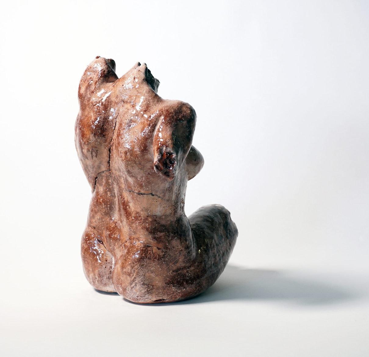 'torso – female', 2020, clay, resin, mixed media, 35 x 18 x 7 cm