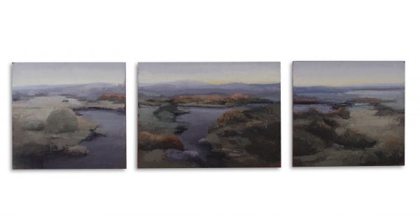 Philip Wolfhagen, Three Part Invention no. 2 2020 oil & beeswax on linen 3 panels, 46 x 170cm overall