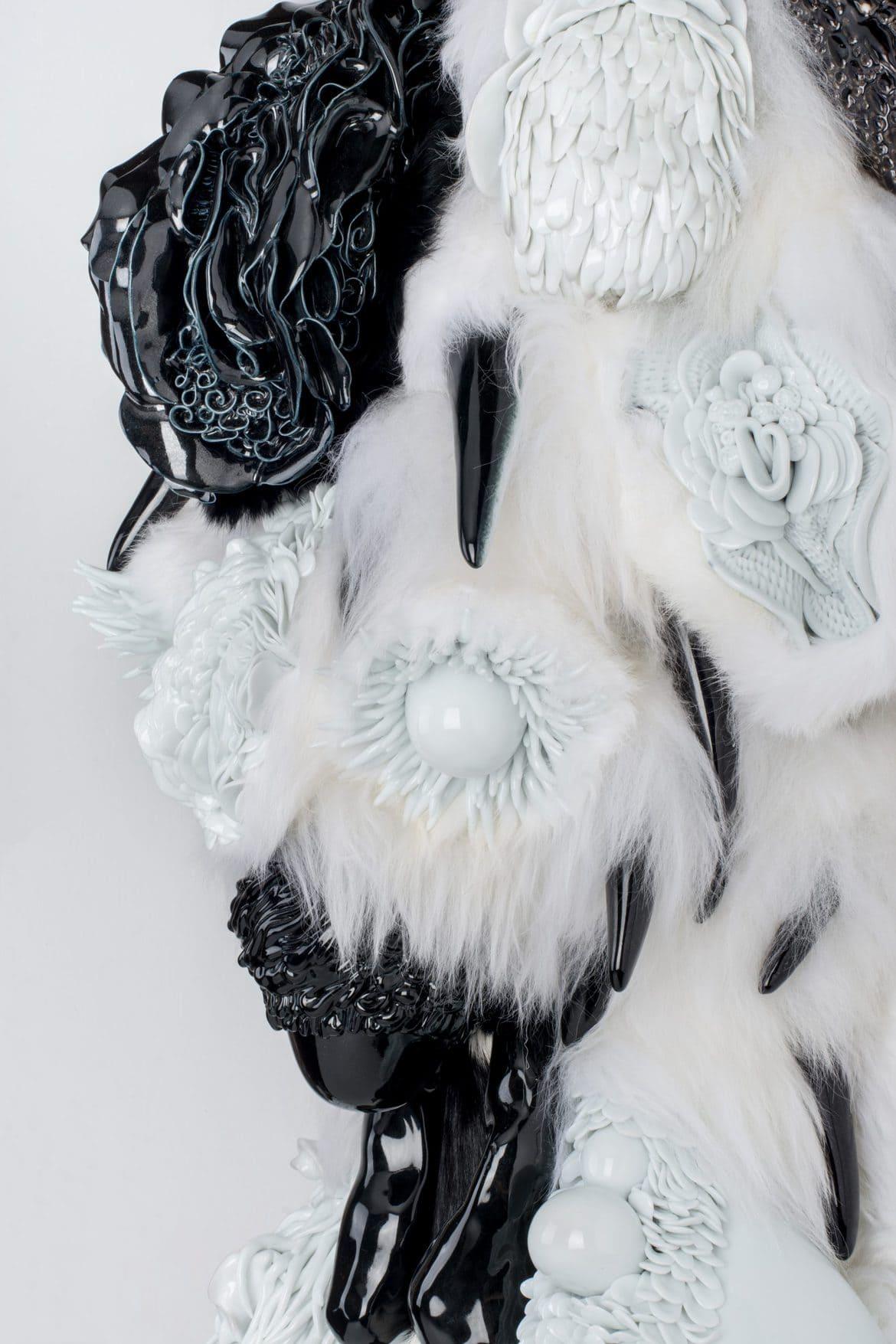 Juz Kitson, 'Something left beside, something left behind, a bit of something left inside', 2017, Jingdezhen porcelain, merino wool, rabbit fur, marine ply and treated pine, 110 x 43 x 27 cm