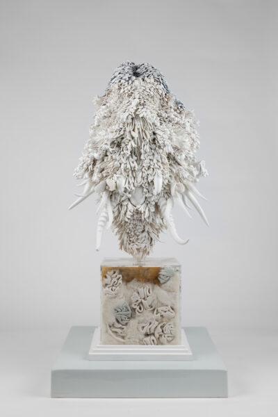 Juz Kitson, 'The Monument, No 1.', 2020, Jingdezhen porcelain, resin, steel, perspex, enamel, leather, merino wool, fox and rabbit fur, timber, 82 x 41 x 41 cm