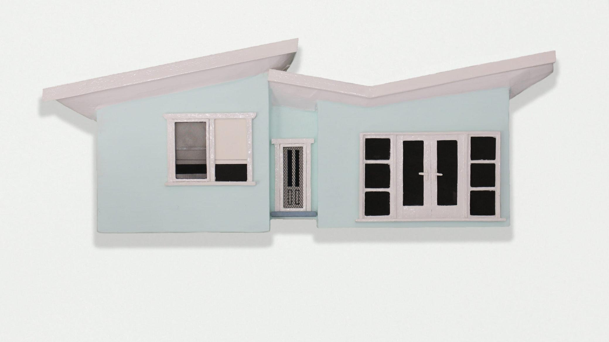 'Suburban Fibro Series #9', 2020, balsa wood and mixed media, 11 x 28 x 2.5 cm