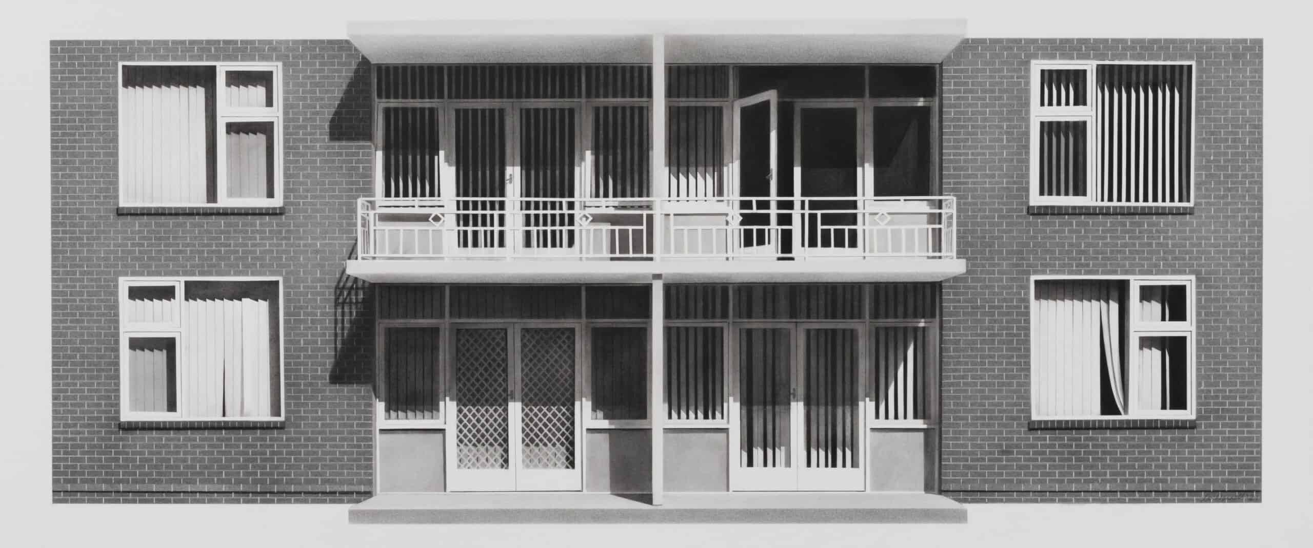 'Pine Court', 2021, charcoal and graphite on paper, 47 x 90 cm framed with museum glass
