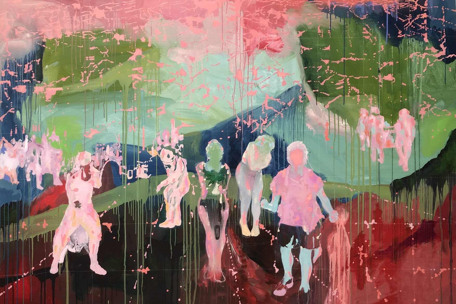 'Rose Group Forming', 2021, acrylic and oil on linen, 183 x 250 cm