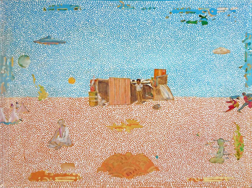 Tim Johnson, 'Two Bob Jungarai', 2020, acrylic on canvas, 41 x 66cm