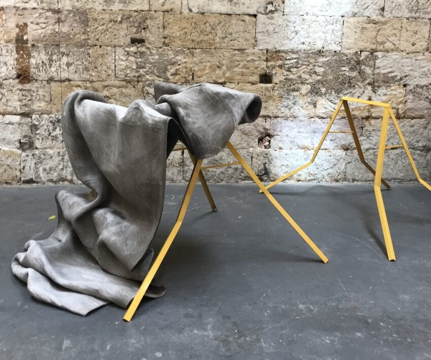 Em Ingram-Shute, Irony in Flow, 2020, concrete cloth and powder, coated steel, overall dimensions 108 x 130 x 320cm